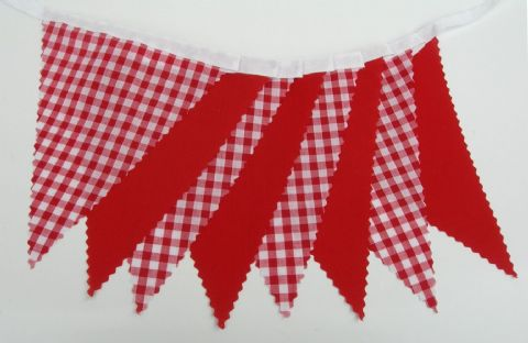 BUNTING Red Gingham and Plain Red - 3m, 5m or 10m